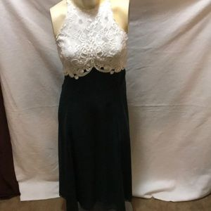 Green and white formal dress